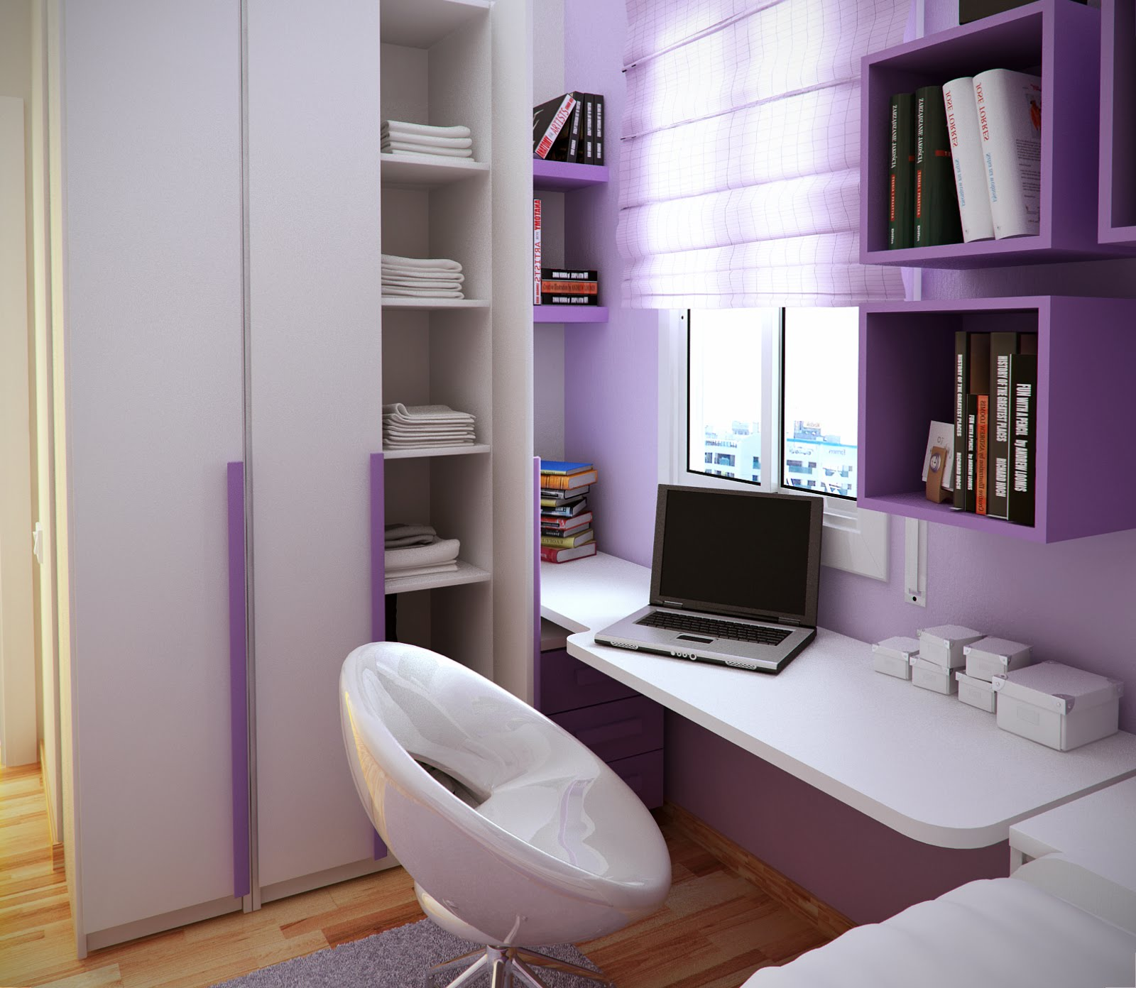 remarkable-tiny-kids-room-design-with-endearing-purple-scheme-study-room-furniture-also-laptop-unit-on-wall-mounted-desk-and-fashionable-white-swivel-chair-on-grey-rug-along-with-bookshelf-decor